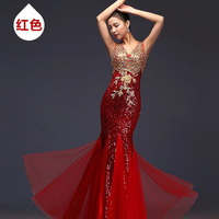 2017 Hot Long Blue Sequin Red Mermaid Dubai Sweetheart Elegant Floor Length Evening Dresses Gown Wear