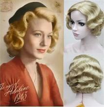 ใหม่9สี20Sผู้หญิงRetroสั้นลายนิ้วมือหยิกหยักPinup Wigs Classy Vintageหยักวิกผมฮาโลวีนคอสเพลย์Headwear