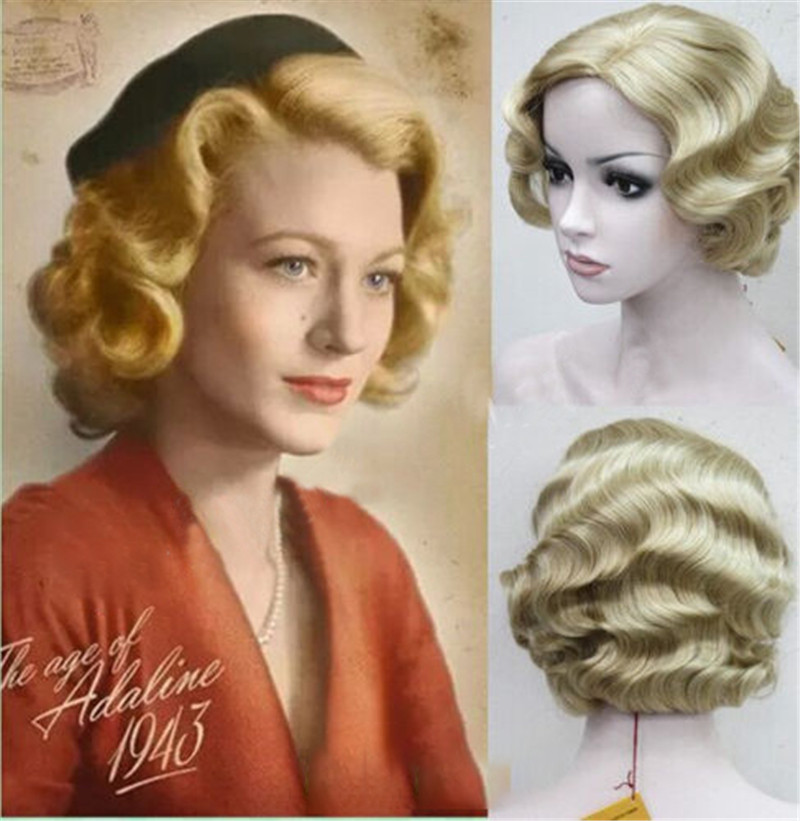New 9 Colors 20s Womens Retro Short Finger Wave Curly Wavy Pinup Wigs Classy Vintage Wavy-Style Wig Halloween Cosplay Headwear