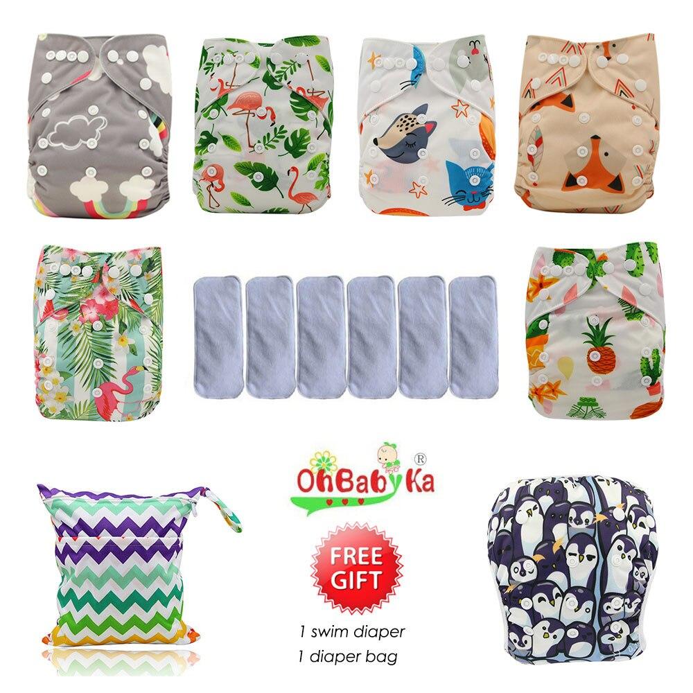 Ohbabyka Waterproof Baby Pocket Diaper Washable Reusable Cloth Diapers Baby Nappy 6pcs 6pcs Microfiber Inserts 1Free