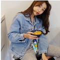 Autumn new charm POLO collar single-breasted long-sleeved denim jacket leisure loose jeans coat