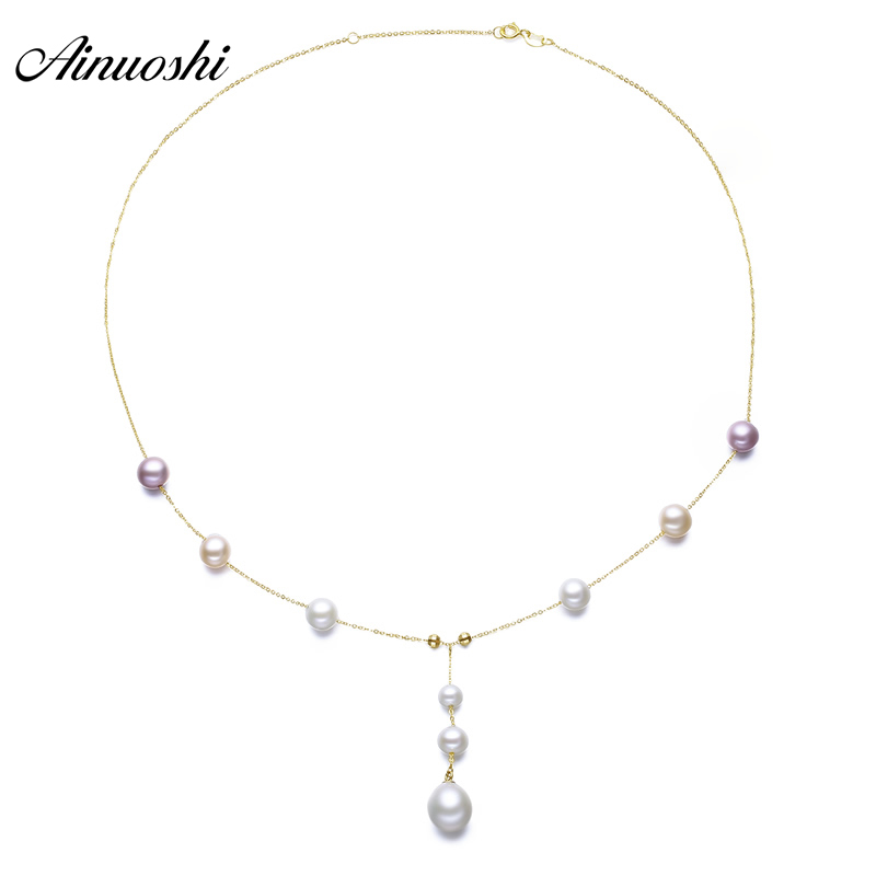 AINUOSHI 18K Yellow Solid Gold Choker Necklace Natural Cultured Freshwater Pearl Pendant Necklace Engagement Wedding Women Chain ainuoshi 18k yellow gold natural cultured freshwater pearl moon pendant woman wedding 5 5 6mm aaaaa pearl engagement lover chain