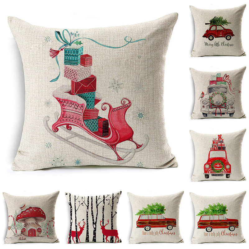 decorUhome Cartoon Pillow Cover Kids Christmas Gift Car Mushroom Cushion Cover Decorative Throw Pillow Case Sofa Home Decor