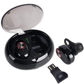 TWS Desxz Dupla Fones De Ouvido Sem Fio Bluetooth 5.0 Fone de Ouvido Fones de Ouvido Esporte com Handsfree Stereo Música QI-Habilitado Com o Caso De Carregamento