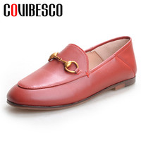 COVIBESCO 2019 Classic Round Toe Shallow Slip On Women Flats Genuine Leather Flok Loafers Single Shoes Woman Office Basic Shoes