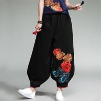 2019 women spring Chinese Style loose embroidery full harem pants mid drawstring waist women pants Vestido plus size women pants