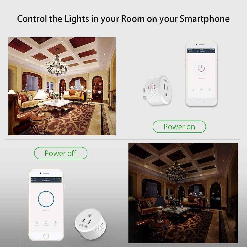 NTONPOWER WiFi inteligentna wtyczka gniazdko elektryczne przełącznik z Alexa asystent Google wtyczką amerykańską Adapter zabezpieczenie przeciwprzepięciowe inteligentne gniazdo
