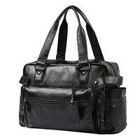 Мужской портфель, сумка через плечо, Большая вместительная сумка, деловая Высококачественная кожаная сумка для ноутбука, многофункциональ...