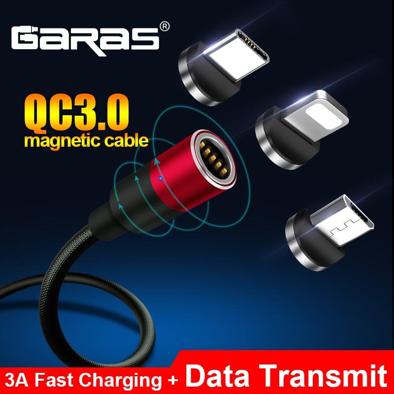 Cabo magnético do usb de garas para iphone/micro usb & tipo c 3a carregador de carregamento rápido cabo de dados qc3.0 para huawei xiaomi ímã usb c