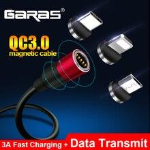 Магнитный usb-кабель GARAS для iPhone/Micro USB и type C 3A, кабель для быстрой зарядки и передачи данных QC3.0 для huawei Xiaomi, магнитный USB C