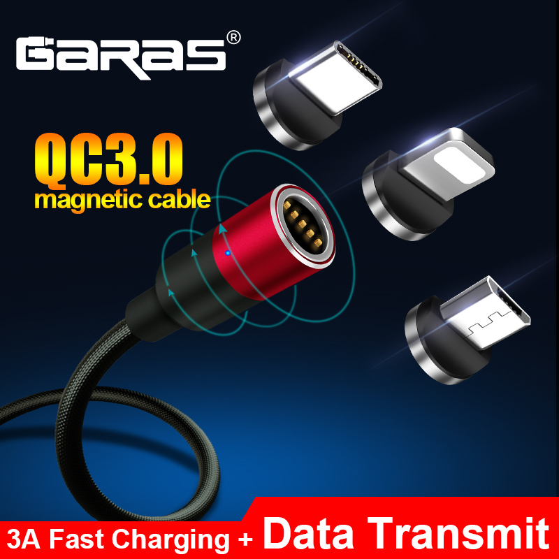 GARAS Magnetic USB Cable For iPhone/Micro USB&Type C 3A Fast Charging Charger Data Cable QC3.0 For Huawei Xiaomi Magnet USB...