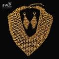 2017 Высокая Мода Высокая Мода Италия 750 Настоящее Позолоченные Серьги Ожерелье Наборы Мода Большой Свадебный Wdding Партии Комплект Ювелирных Изделий