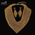 2017 De Alta Costura alta Moda Italia 750 Pendientes Plateados Oro Verdadero de Moda Conjuntos de Collar Grande Nupcial Wdding Joyería Del Partido Set
