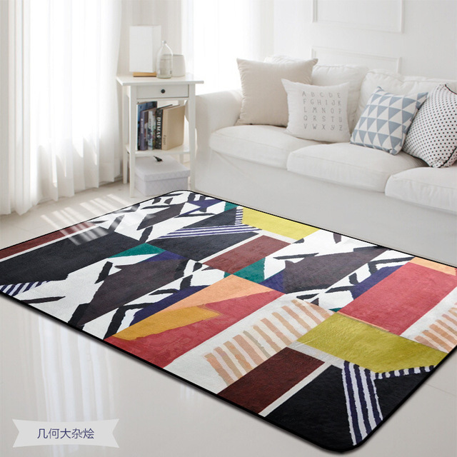 Geometric Colorful Printed Rectangle Carpet Rugs For Living Room ...