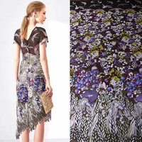 145cm Width Purple Color Flowers Heavy African Lace Fabric Women Bridal Dress Lace Tissu Birds Embroidery