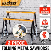2PC Mastercraft Sawhorse Metal Folding Non Slip Surface Saw Horse 120KG Capacity