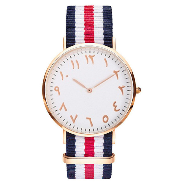 Top Luxury Brand Fashion Stripe Nylon Women Watch Men Quartz Wristwatch Fashion Arabic Numbers Watch Montre Femme Clock Female