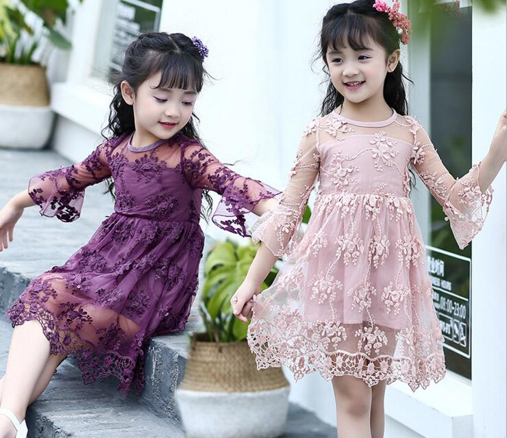 Girls Embroidery Floral Lace Net Yarn Mesh Floral Princess Party Dress Children Cute Dress with Flare Sleeve Kids Baby Dress