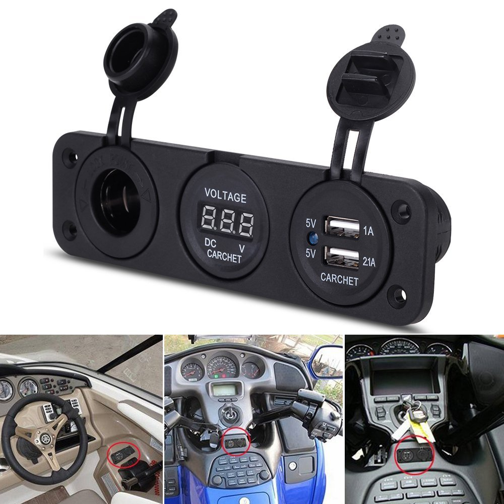 Car Charger Motorcycle Plug Dual USB Adaptor+12V/24V Cigarette Lighter Socket Blue LED + Digital Voltmeter Mobile Phone 12v metal 3 in 1 dual usb motorcycle cigarette lighter plug cigarette lighter socket splitter outlet for motorcycle