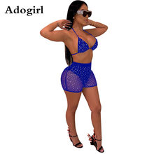 Sheer Mesh Hot Boren Bergkristallen Twee Delige Set Vrouwen Sexy Tankini Halter Bh Top en Zomer Shorts Zwembad Party outfits(China)