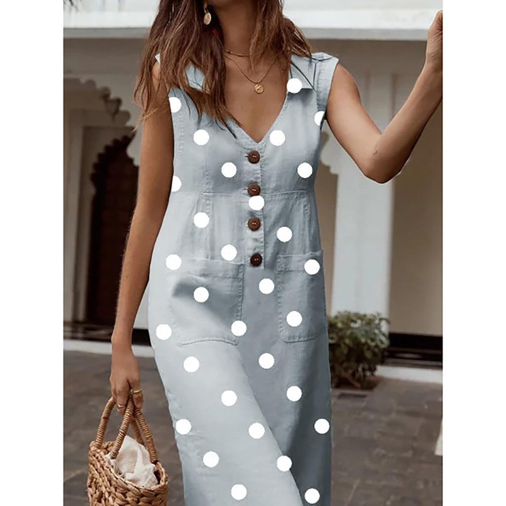 &35 Dress For Women Elegant Dot Print Boho Dress Vadim Gothic Turn down V neck Dress Button Pocket Dresses Woman Party Night on AliExpress