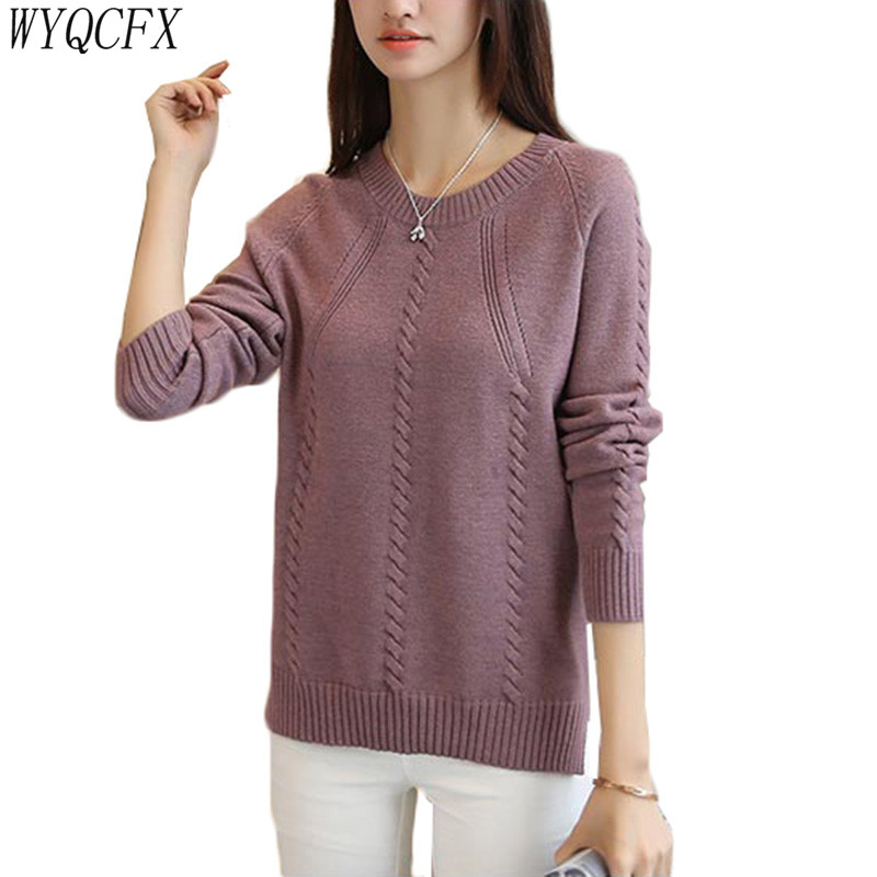 2019 New Knitted Sweater Women Harajuku Pullover Long Sleeve Autumn Winter O-Neck Loose Casual Knit Jumper Sweaters Plus Size