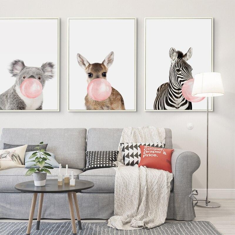 HTB1jZG8m4SYBuNjSsphq6zGvVXaz Bubble Chewing Gum Giraffe Zebra Animal Posters Canvas Art Painting Wall Art Nursery Decorative Picture Nordic Style Kids Deco