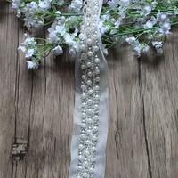 Free Shipping 1yard Rhinestone Trimming Bridal Sash Beadedl Mesh Trim Lace Rhinestone Chain Wedding Banding Pearl