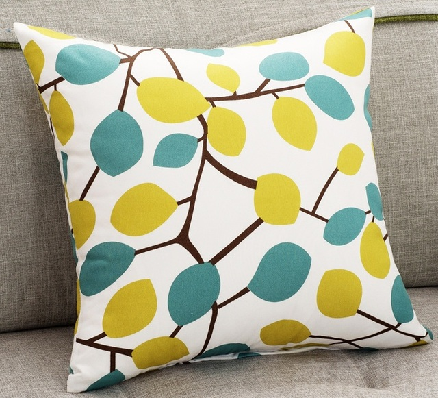 Yellow And Blue Leaf Sofa Cushion Covers Autumn Decorative Pillows Covers  Tree Leaves Bedroom Throw Pillows