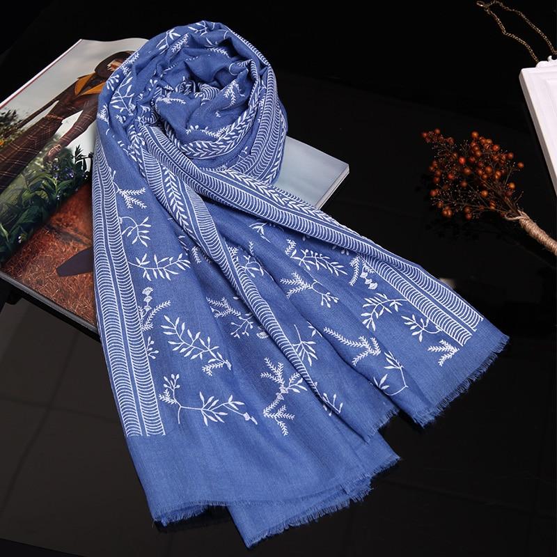 Genovega Frauen Print Schals Stickerei Schal Folk Floral Scarfindigo - Bekleidungszubehör