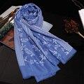 Genovega Inverno Cachecol de Impressão Bordado Cachecóis E Xale de Alta Qualidade Floral Azul Viscose Cachecol Feminino Lady Foulard Femme