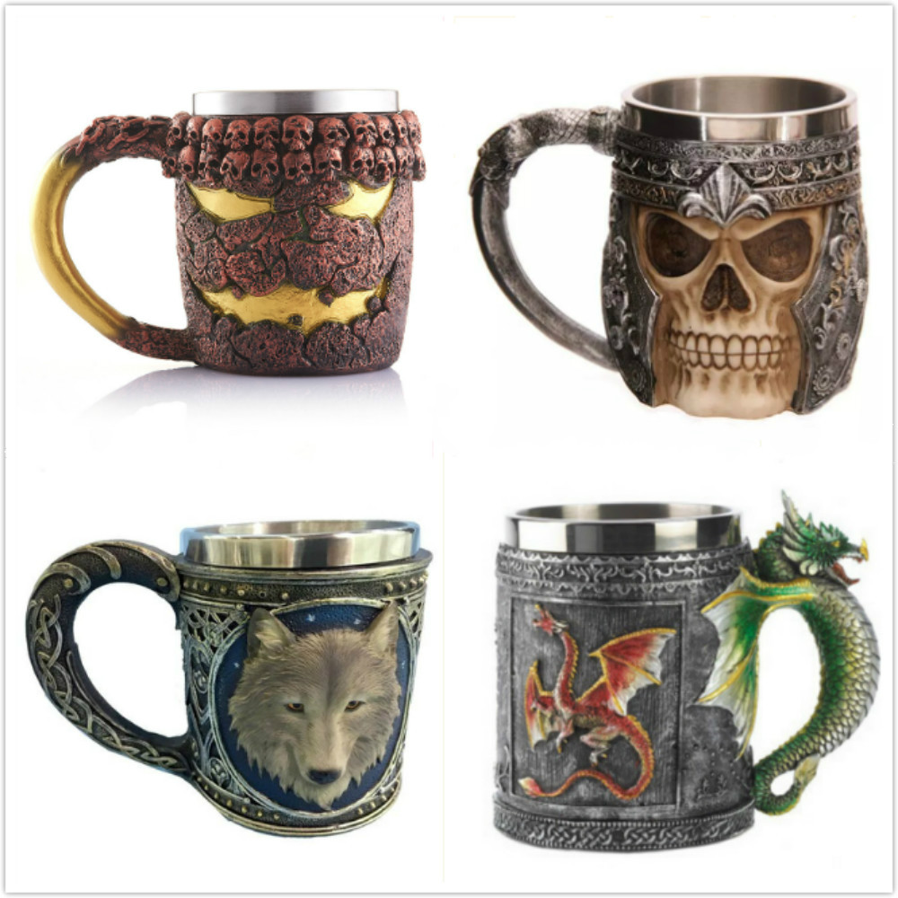 Stainless Steel 3D 350ml Skull <font><b>Cup</b></font>/200ml goblet Skull <font><b>Cup</b></font> <font><b>Knight</b></font> Tankard Dragon Skull Double Wall Coffee Beer <font><b>Cup</b></font>