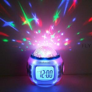 Projecteur de Projection Led numérique | Musique, Star étoilée Sky, projecteur d'alarme, horloge thermomètre, horloge