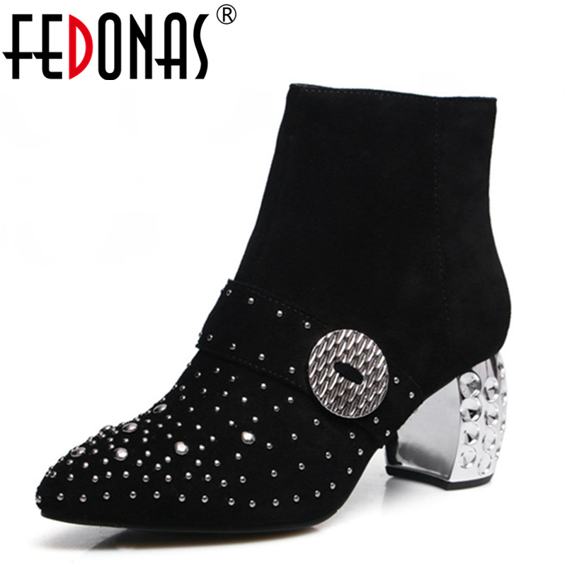 FEDONAS New Fashion Women Genuine Leather Ankle Boots Sexy Rivetsl Sexy Autumn Winter Warm Snow Martin Boots Ladies Shoes Woman fashion genuine leather hollow lace style winter martin boots women warm snow shoes ankle woman bottine ladies platform femme