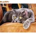 RUOPOTY DIY Набор для рисования по номерам животных, кошек, Акриловая Краска на холсте, настенная живопись, ручная краска для домашнего декора 40x50