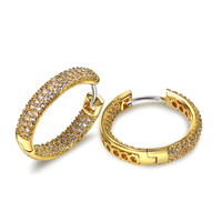 24MM Fashion Hoop Earring Crystal Earrings For Girl Gold Plated W AAA CZ Wedding Party Earring