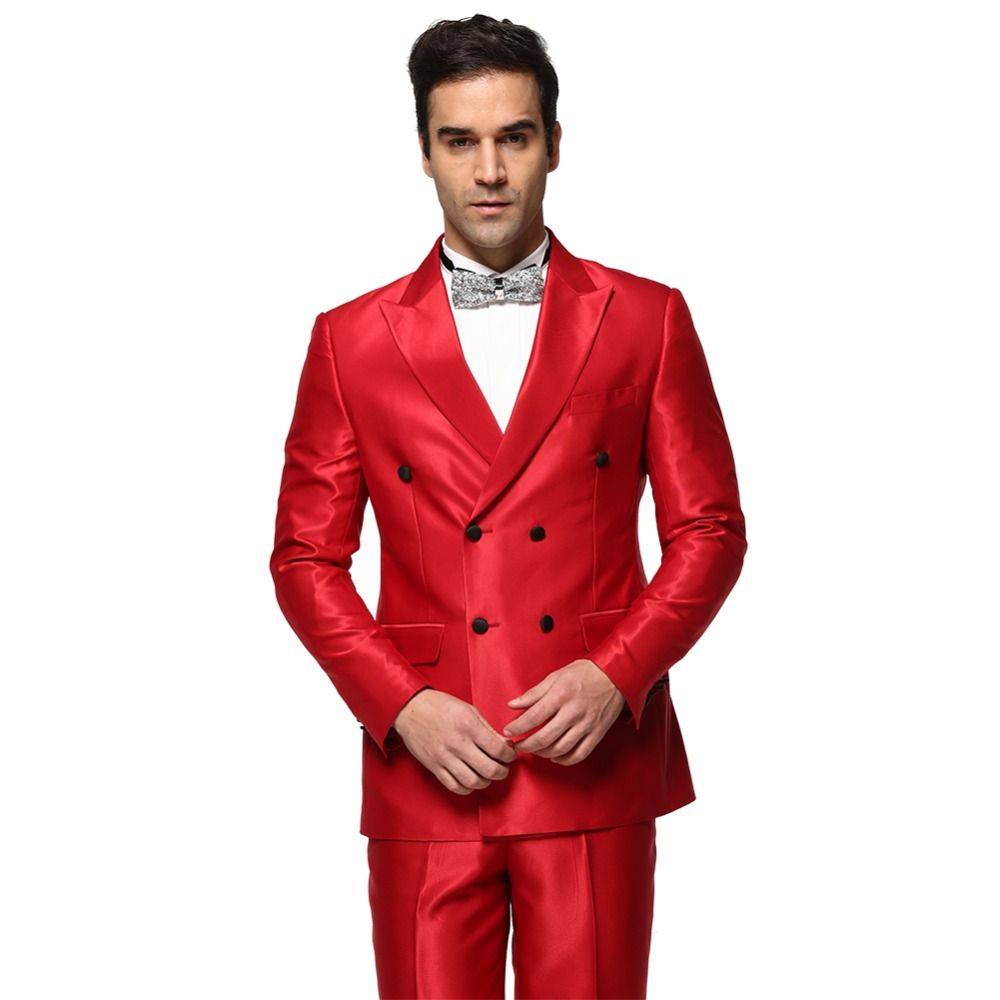 (Jacket+Pant) Men 2016 Wedding Suits New Style Solid Color Shiny Red Personality Men Suit  Slim Fit Dress Plus Size C0008 plus size short overalls