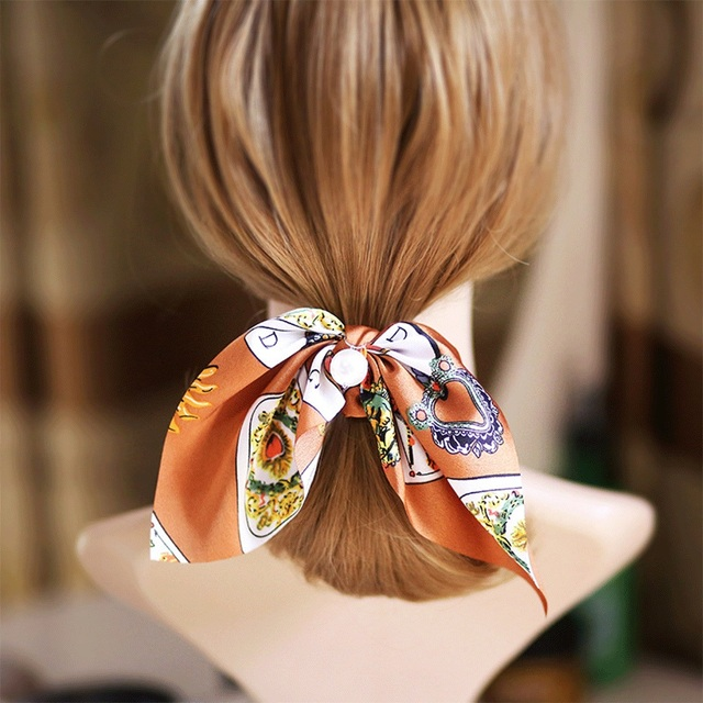 New Chiffon Bowknot Silk Hair Scrunchies Women Pearl Ponytail  1