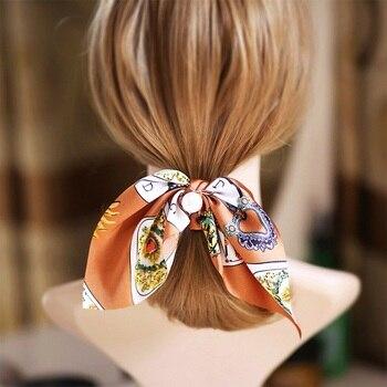 2019 New Chiffon Bowknot Silk Hair Scrunchies Women Pearl Ponytail Holder Hair Tie Hair Rope Rubber Bands Hair Accessories