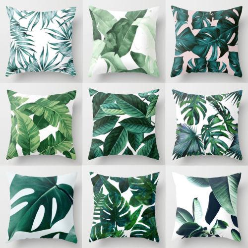 Polyester Case Cusion Green Leaves Throw Sofa Car Cushion Home Decor New