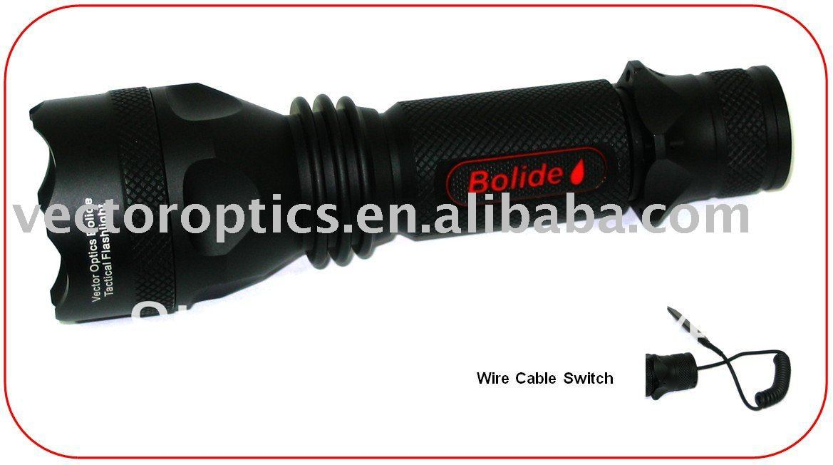 Vector Optics Bolide Tactical LED Flashlight Torch CREE 300 Lumen , Cable Switch Normal & Car Charger Holster, Mount, Sling