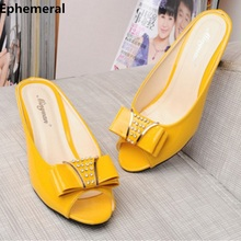 Women Peep Toe Slides High Heels Spike Bow Rhinestone Meed Heel Slippers Soft Patent Leather Summer Shoes Black White Plus Size стоимость