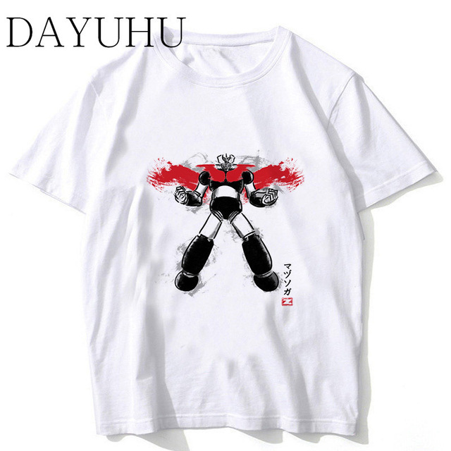 mazinger z t shirt men Summer print T Shirt boy short sleeve with white  color Fashion Top Tees ms77 29e149686400