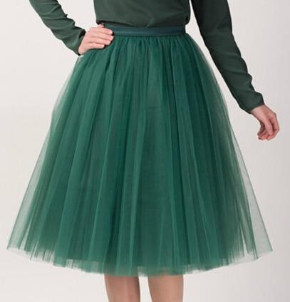 Faldas de tul Mujeres Midi Realizar Ropa Falda Del Vestido de Bola 2017 Nueva Moda Cintura Elástica Un Tamaño Para Todos Liberan El Envío
