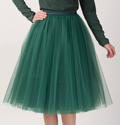 Tulle Skirts Women Midi Ball Gown Skirt 2017 New Fashion Perform Clothing Elastic Waist One Size Fits All Free Shipping