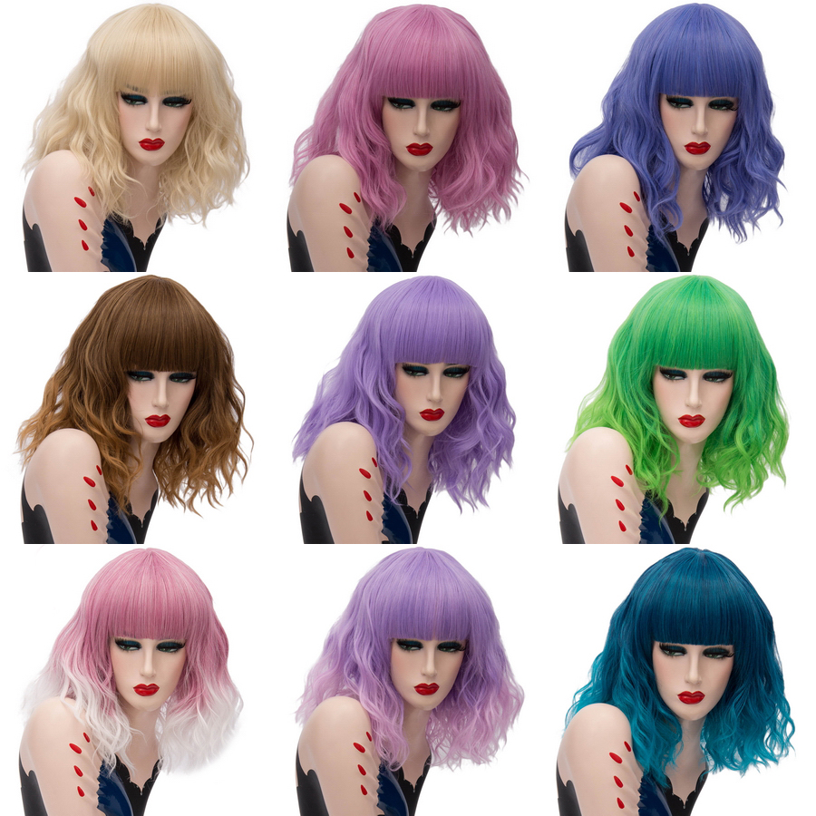 Beautiful New Short Wavy Hair Brown Green Blonde Ombre Wig With Bangs Synthetic Hair Anime Cosplay Wigs For Holiday Party 22 Models Luxuriant In Design