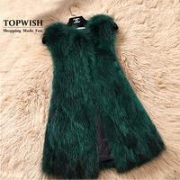 Genuine Fox Fur Vest Nature Women Fox Fur Gilet Factory Custom big size Wholesale Fur Waistcoat TFP872