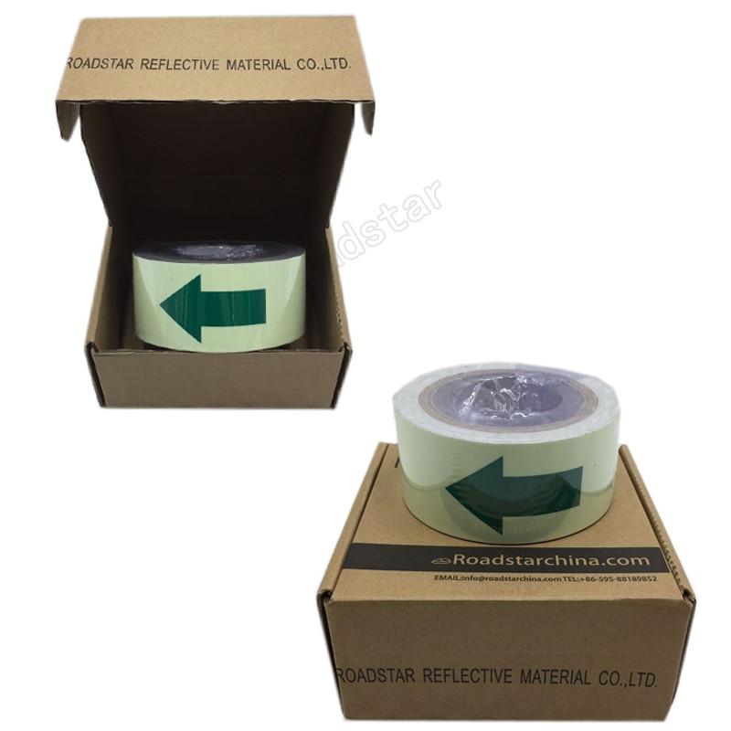 Купить с кэшбэком 50mm X 10m Hot sell 5cm width glow in the dark tape lasting 4 hours wiht arrow printing for safety guiding
