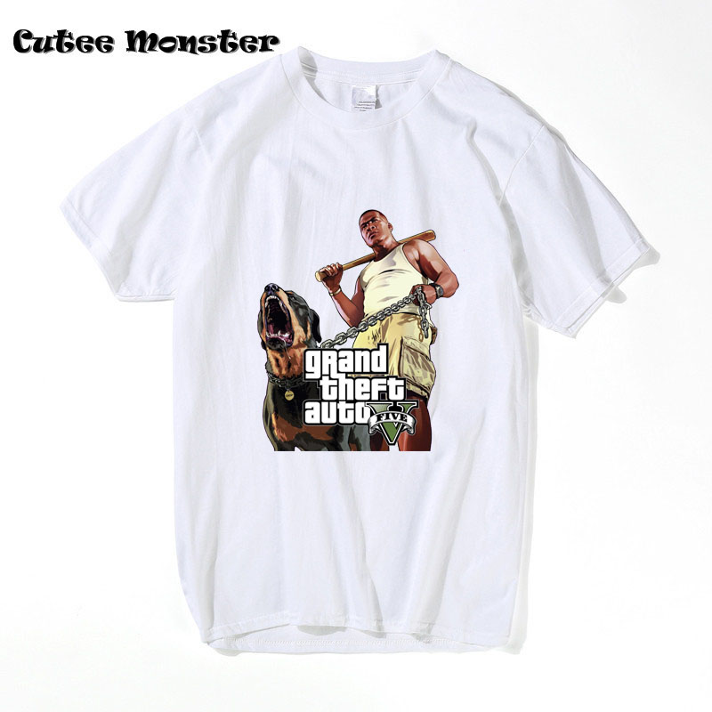 GTA 5 Michael T Shift 2017 Summer Game GTA 5 Franklin Grand Theft Auto V White Funny Top Tee Plus size 3XL