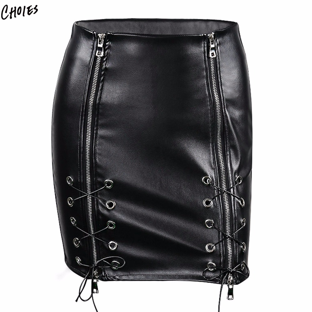 101c1766b58e Black High Waist Eyelet Lace Up Front Leather Look Pencil Mini Skirt Faux  Leather Sexy Bodycon Skirts 2017 Women Skirt Shorts -in Skirts from Women's  ...